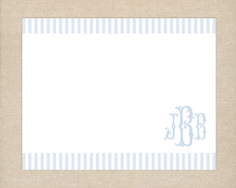 25 Printed Blue Monogram Thank You Cards