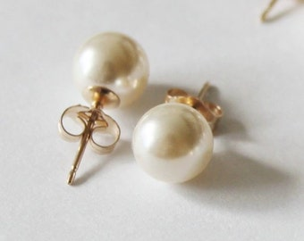 6mm, 8mm, 10mm Swarovski pearl studs- Gold pearl studs- 14K Gold pearl earrings- bridesmaid earrings- pearl stud earrings, Bridal pearl gift