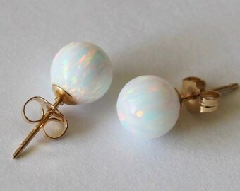 8mm, 10mm fire opal ball stud earrings, Multiple colors, Gold opal earrings, 14K Gold opal earrings, October birthday, Birthstone gifts
