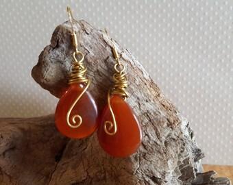 Large carnelian Drop Earrings Gold Wire Wrapped