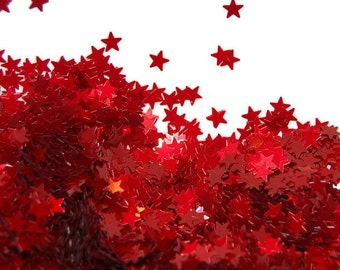 Red SOLVENT RESISTANT Glitter STARS - 1 Fl. Ounce for Glitter Nail Art, Glitter Nail Polish and Glitter Crafts