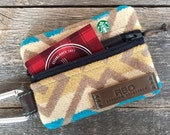 Venture Carabiner Coin Pouch // Pendleton Wool Brown Leather // Rosebud Originals