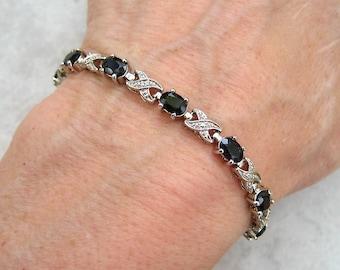 Vintage Dainty Silver Bracelet Faceted Black Oval Glass Stones
