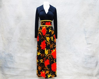 Vintage 60s bold graphic Mad Men floral maxi dress - 1960s black red and yellow green hostess gown - Medium