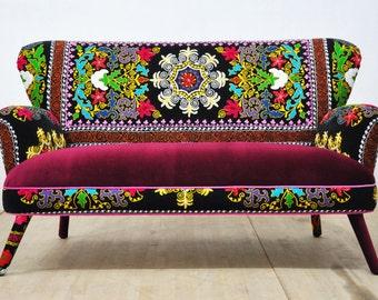 Suzani 2-seater sofa - burgundy love
