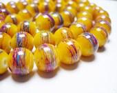 Drawbench Glass Beads Yellow Round 10MM