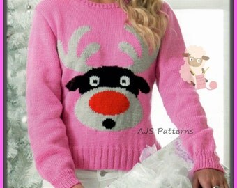 PDF Knitting pattern for Rudolf The Red Nose Reindeer Christmas Festive Sweater - Instant Download