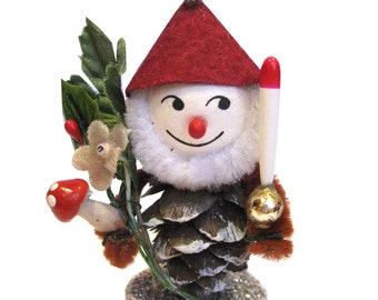 Christmas Ornament Pinecone Elf Gnome- RED Hat
