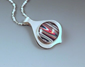 SALE- 10% off everything- Fordite Pendant- Motor City Agate- Brilliant Striped Colors- Michigan Made- Sterling Silver Pendant