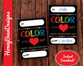 Color Your Heart Out Valentines Day Crayons Markers Color Rainbow