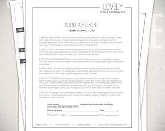 Photography Forms - 6 Essential Contracts and Form Templates - Lovely Studio Collection