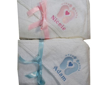 Personalised baby towel with hood embroidered with cute footprints Baby shower baptism new baby gift