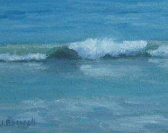 "Sale Original Oil Painting Santa Barbara Surf Waves Ocean Modern Impressionist Abstract Surreal Turquoise Jennifer Boswell 5x7"""