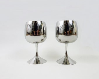 2 Vintage Stainless Steel Wine Glasses made in Italy