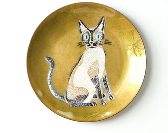 Annemarie Davidson Enamel Cat Plate - Mid Century Enamel Over Copper Siamese Cat Plate