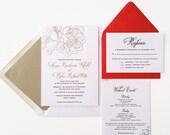 Gold Foil Wedding Invitation - Metallic Gold Wedding - Calligraphy - Custom Wedding Invitations - The Starling - DEPOSIT