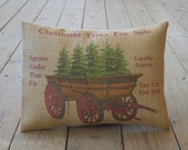 Christmas Wagon burlap Pillow, ChristmasTrees, Rustic Christmas, Shabby Chic, INSERT INCLUDED