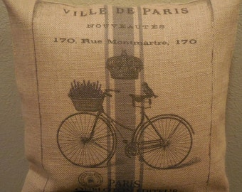French Bike Burlap Pillow, Rustic French Farmhouse, Shabby Chic, INSERT INCLUDED