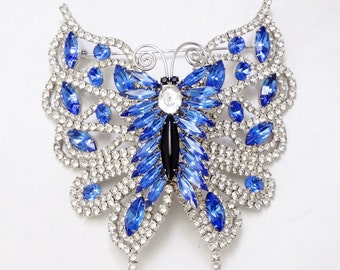 Vintage Signed DOMINIQUE Blue Crystal Rhinestone Butterfly Brooch Pin MASSIVE 4""