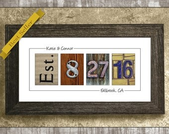 Personalized Gift, Gift for Her, Custom Wedding Date Sign, Gift for Wife, Gift for Parents, Wedding Gift, Anniversary Gift, Wedding Date Art