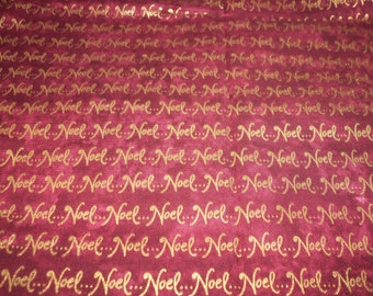 Noel Fabric Christmas Burgundy With Metallic Gold Print Very Special fabricnmore Fabric New By The Fat Quarter