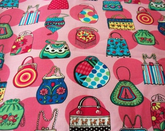 Purses & Handbags Fabric Pink Background New By The Fat Quarter