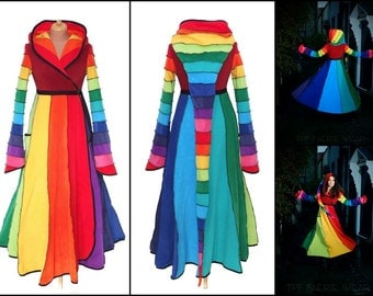 Deluxe rainbow full length Fleece 'Tournedot' Jacket(length 7). 24 stripe ultimate pixie hood / 12 stripe sidhe sleeves