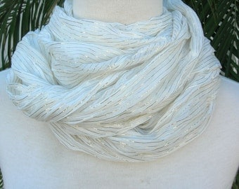 SUMMER SALE Long White & Silver Crinkle Scarf/Shawl, versatile - wear it long, knotted or wrapped, vintage