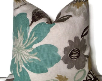 Aqua Gray Blue Floral Pillow Cover Gorgeous Pearl Braemore