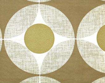 Retro Wallpaper by the Yard 70s Vintage Wallpaper - 1970s Metallic Gold and Brown Geometric Circle Retro Wallpaper