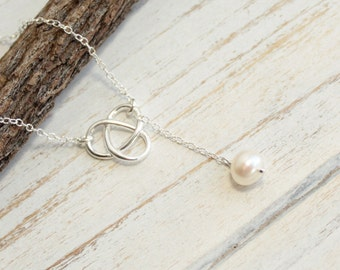 Sterling Silver Infinity Love Knot Necklace with Freshwater Pearl
