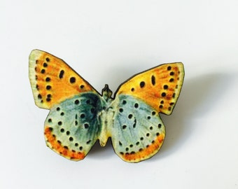 Orange Pale Blue Butterfly Woodland Wooden Brooch Pin Birthday Gift Wood Nature Wildlife Small Present Insect Unique for Her Butterflies