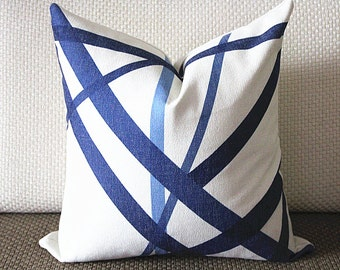 Kelly Wearstler Channels Pillow Cover - Blue Pillow - Designer Geometric Pillow Cover 296