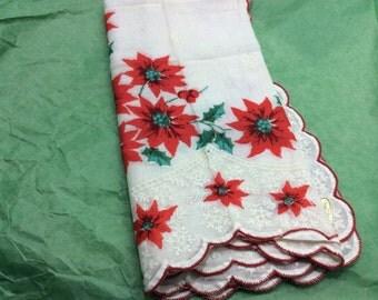 Red poinsettas Christmas  handkerchief, Philippines
