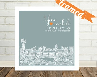 Knoxville Skyline Knoxville Art Valentines Day Gift FRAMED Art Knoxville Print Any City Available Custom Valentine Gift for Him Gift for Her