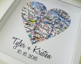 Wedding Gifts Personalized Map Art Heart Map FRAMED Print Any Location Available Unique Engagement Gift Wedding Gifts For Couple Map Heart