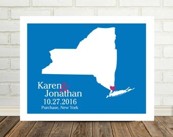 New York State Map Wedding Gifts Personalized New York Map New York Print New York Engagement Valentines Day for Him Holiday Gift