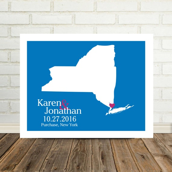 Unique Wedding Gifts Nyc : New York State Map Wedding Gifts Personalized New York Map New York ...