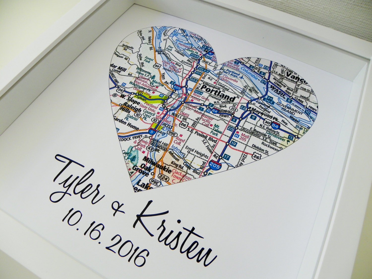 Paper Wedding Anniversary Gift Ideas Uk : First Anniversary Gift Paper Gift Map Heart Art FRAMED Any