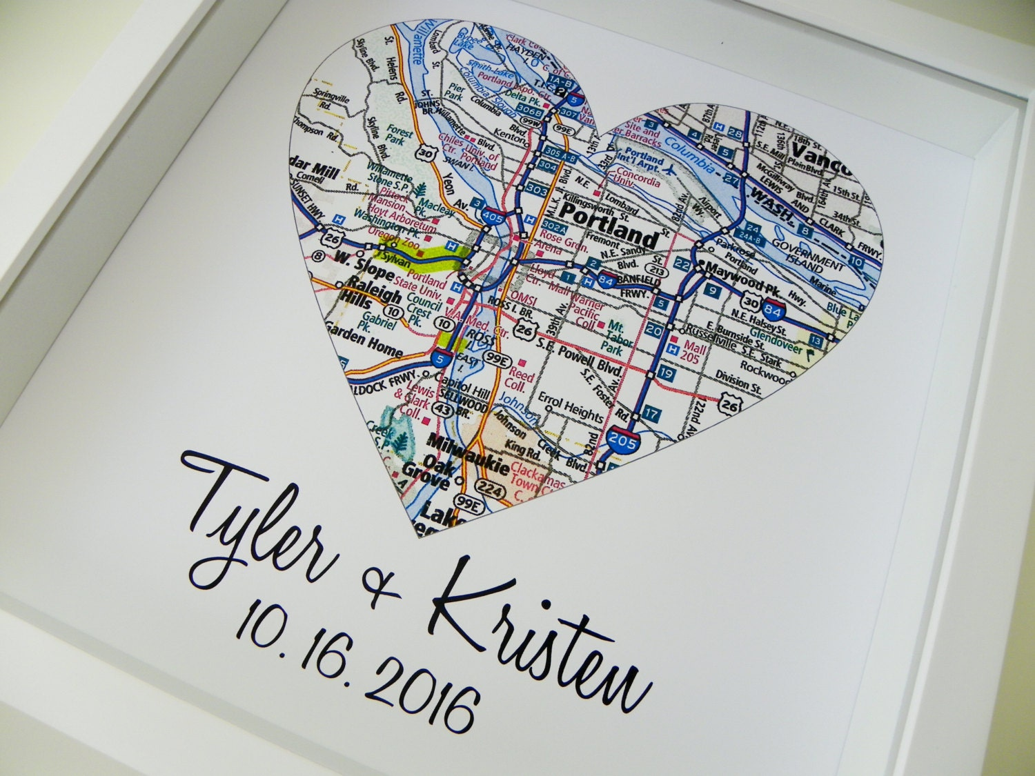 Original Wedding Presents Uk : Wedding Gifts Personalized Map Art Heart Map FRAMED Print Any