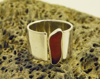 Sterling Silver and Brown Sea Glass Wide Band Ring