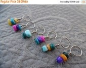 "SALE Knitting Stitch markers, set of 6, ""Fiesta"",  up to 6 mm needles"