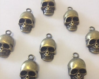 10 x Antique Bronze Brass Skull Charms Brass Skulls 16x10x8mm Skeleton Charms Skull Pendants Halloween Charms