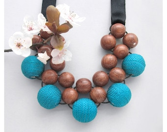 Unique Wood Necklace / Wooden Necklace / Bayong Wood Turquoise Fabric Beads and Ribbon Ties / Large Bead Necklace / Statement Necklace