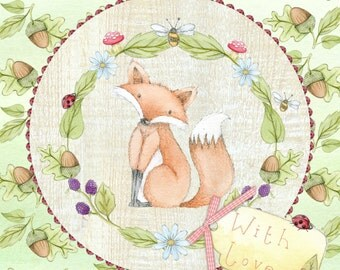 Handmade Woodland With Love Greeting Card