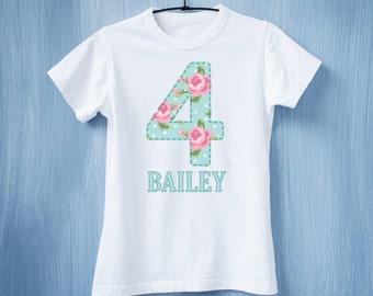 Shabby Chic Birthday Tee - 4 Year Old Birthday Tee - 2nd Birthday Shirt - Girls Birthday Shirt - Birthday Girl t-shirt
