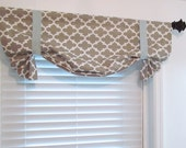 Taupe White Mist Blue Quatrefoil Tie Up Curtain Valance  HANDMADE in the USA