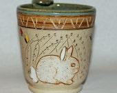 Handmade Ceramic Pottery Mug /  Rabbit in a Meadow