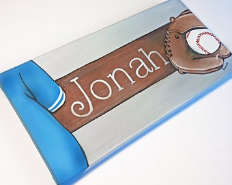 Baseball Canvas Door Plaque / Wall Name Art Hanging / Signs, Hand Painted For Boys Rooms, Play Rooms or Nursery Rooms
