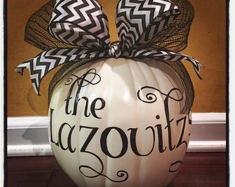 Personalized White Family Pumpkin
